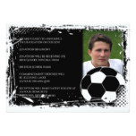 Black and White Grunge Soccer Graduation Card
