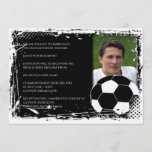 Black and White Grunge Soccer Graduation Invitation