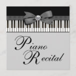 Black and White Piano Keys Recital Invitation