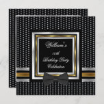 Black Bowtie Gold Silver Studs Birthday Party Invitation