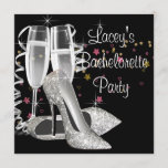 Black Champagne High Heels Bachelorette Party Invitation