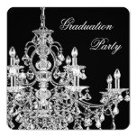 Black Chandelier Graduation Party Invitation