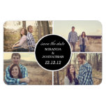 Black Circle Design Photo Save The Date Magnet