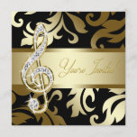 Black Gold Music Treble Clef Musical Event Invitation