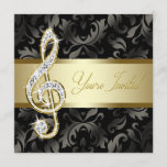 Black Gold Music Treble Clef Recital Invitation