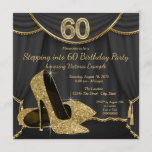 Black Gold Shoe Stepping into 60 Birthday Party Invitation