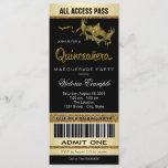 Black Gold Ticket Quinceanera Masquerade Party Invitation
