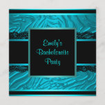Black Lace Teal Zebra Bachelorette Party Invitation
