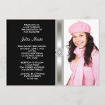 Black Silver Diamond Girl Photo Graduation Invitation