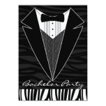 Black Tuxedo Bachelor Party Invitation