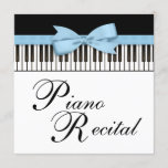 Black White Blue Piano Keys Recital Invitation