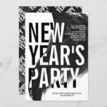 Black, white watercolor New Year's Eve party Invitation