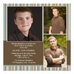 Blue and Brown Stripe Photo Home School Graduation Card