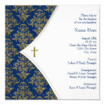 Blue and Gold Cross Christening Invitation