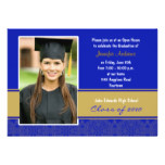 Blue and Gold Damask Graduation Party Invitation