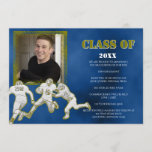 Blue and Gold Football Graduation Announcement