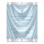 Blue and Silver Baptism Christening Invitation