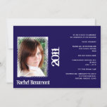 Blue and White Grunge Graduation Announcement