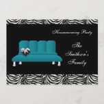 Blue Modern Sofa Housewarming Party Invitations