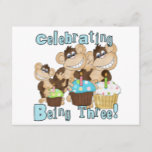 Blue Party Monkeys 3rd Birthday T-shirts and Gifts Invitation Postcard