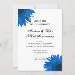 Blue Pop Art Flower Wedding Anniversary Party Invitation