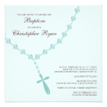 Blue Rosary Beads Baby Boy Baptism Inviation Card