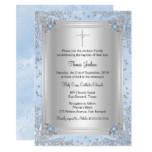 Blue Sparkle Jewel Baptism/Christening Invite