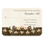 Blush String of Lights Acorn Rustic Wedding RSVP Card