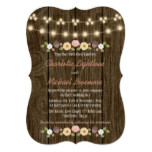Blush String of Lights Fall Rustic Acorn Wedding Card
