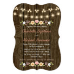 Blush String of Lights Fall Rustic Acorn Wedding Invitation