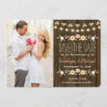 Blush String of Lights Rustic Save the Date Card