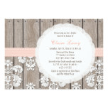Blush Wood Lace Rustic Bridal Shower Invitations