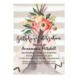 Boho Teepee with Floral Bouquet Birthday Card