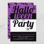 Bold typography and spiders purple Halloween party Invitation