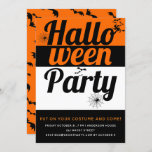 Bold typography, bats and spiders Halloween party Invitation