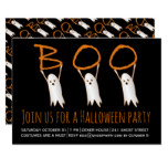 Boo cute ghosts modern Halloween party Card