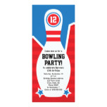 Bowling birthday party invitation with pin