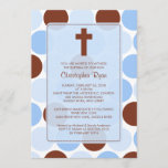 Boy Baptism Inviation Brown & Blue Polka Dots Invitation