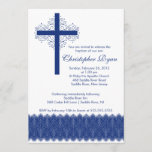 Boy Elegant Lace  Baptism | Christening Cross Invitation
