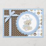 Boy Teddy Bear Baby Shower Invitation Card