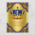 Boys Prince Baptism Royal Blue and Gold Crown Invitation