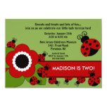 Bright flower & Ladybug Birthday Invitation