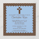 Brown & Blue Baby Boy Baptism Inviation Invitation