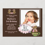 Brown Tea Party Photo Birthday Party Invitation
