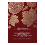 Burgundy and Gold Leaves Vintage Fall Wedding Card
