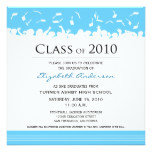 Cap & Gown Square Graduation Announcement (aqua)