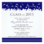 Cap & Gown Square Graduation Announcement (blue)