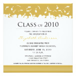 Cap & Gown Square Graduation Announcement (gold)