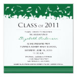Cap & Gown Square Graduation Announcement (green)
