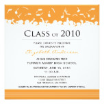 Cap & Gown Square Graduation Announcement (orange)